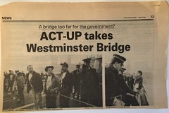 1 Dec 1989 - ACT UP London takes Westmister Bridge (Mister Higgs) Tags: westminsterbridge london 1989 actup worldaidsday newspaper