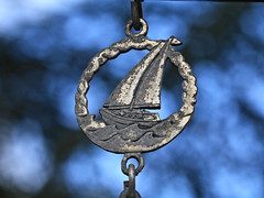 Metal Sailboat Ornament (hbickel) Tags: sailboat ornament silver blue canont6i canon photoaday pad