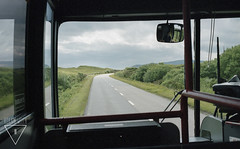 On the road to Portree (Roxane Welch) Tags: road greatbritain trip trees england holiday man bus tree skye green film beautiful grass car animal analog canon landscape drive scotland holidays track sheep isleofskye alba ae1 britain country great roadtrip land driver canonae1 isle sheeps portree welch argentique roxane analogic flodigarry filmisnotdead analogique roxanewelch