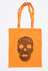 Swirly Skull Tote (orange) (Wayne Chisnall) Tags: pink blue red orange green yellow skulls skeleton grey screenprint lilac cotton bones forgetmenot bags tote shopper totes deathshead totebags shoppingbags tattoodesign screenprints artprints tattoodesigns sull deathhead screnprint cottonshoppingbags cottontotes artbags skulldesign cottonshoppingbag skulldesigns shopperbags skeletondesign artistsscreenprints colouredtotes skeletondesigns artistsbags greygreenlilac artshoppingbags