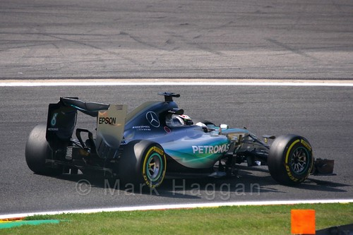 Lewis Hamilton in Free Practice 2 for the 2015 Belgium Grand Prix