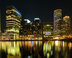 fort point channel (army.arch) Tags: city water boston skyline night ma lights skyscrapers massachusetts fortpointchannel
