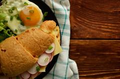 _DSC4282 (evgenia-kis) Tags: food cheese breakfast salad tasty eggs croissant yolk woodtable