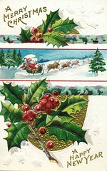 Antique Christmas/New Year's Postcard (Brynn Thorssen) Tags: santa christmas xmas red holiday snow green vintage reindeer gold antique holly postcards yule fatherchristmas santaclaus merrychristmas sleigh santaklaus happynewyear happychristmas yuletide oldsaintnick