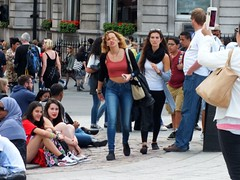 London Tourists (Waterford_Man) Tags: people london girl mobile path candid tourists jeans midriff
