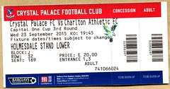 Crystal Palace v Charlton Athletic ticket (The Wright Archive) Tags: park uk london cup one stand football athletic crystal capital ticket palace september match 23 league versus charlton 2015 selhurst holmesdale