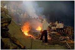last rites (Soumya Bandyopadhyay) Tags: dead fire varanasi benaras uttarpradesh manikarnikaghat fujifilmxm1 fujinon1650mmois