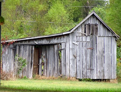 Still Standing? (Wits End Photography) Tags: wood old sky plant building tree green texture abandoned nature grass architecture clouds barn rural america outside woods alone exterior outdoor decay farm kentucky country gray neglected lawn structure pale southern faded forgotten american worn lone weathered discarded forsaken left solitary paducah rejected grounds turf bleached sod faint outcast washedout dumped castaside discolored
