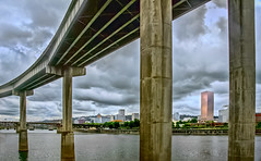 Overpass over the Williamette River (FotoGrazio) Tags: world pictures california street city bridge sky urban usa art water architecture clouds oregon composition digital buildings river portland photography photo san day cityscape photographer photoshoot image photos pics wayne scenic picture photographers overpass diego s photographic international moment capture pylons roadway williamette grazio fotograzio