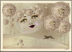 PASTORAL DREAMS ~ A MOON'S WISH (Cabinet of Old Secret Loves) Tags: old blue original trees moon rabbit art photoshop painting landscape design eyes hare graphic cabinet annabelle secret away blow dandelion seeds dreams loves wish pastoral of society6