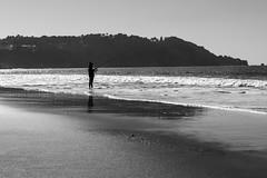 Man Fishing (SherriffPhotography ツ) Tags: ocean blackandwhite bw man beach fishing baker goldengatebridge