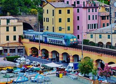 Monterosso al Mare, Italy and The Elevated Train Which Runs Thru  It (Susan Roehl Thanks for 5.1 M Views) Tags: unescoworldheritagesite cinqueterre elevatedtrain monterossoalmare populartouristdestination leguriaregion partofitalianriviera