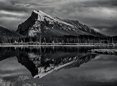 Mount Rundle Reflected, Vermillion Lakes (martincarlisle) Tags: trees sunset sky blackandwhite canada mountains monochrome clouds reflections rockies lakes parks alberta rockymountains nationalparks mountrundle banffnationalpark nwn canadianrockies greatphotographers sigmalenses niksoftware sonycameras silverefexii vermillionlkes