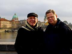 Larry and Mark with Charles Bridge and Vltava River Behind Us - Prague - December 2015 (4) (litlesam1) Tags: mark larry prague2015 christmasineasterneurope