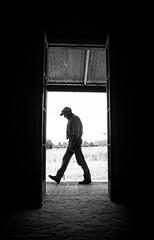 Man Walking Past (Donna Longobardi) Tags: man walking naturallight doorway negativespace verandah valleylandscapefrontyardvalleyabstractblackandwhiteframed
