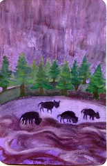 purple postcard bison (CaZaTo Ma) Tags: paint purple bison swapbot