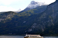 Snowy White (pringle-guy) Tags: nikon salzburg europe austria hallstatt          boat lake snow green landscape forest mountain