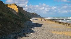 West Runton Beach, Norfolk, UK (+Pattycake+) Tags: beach sea northsea eastcoast uk norfolk westrunton people groynes wood beams cliffs hillside landscape endofsummer