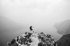 get lost and you will find yourself (David Kutschke) Tags: bw blackandwhite blackwhite schwarzweis mountain berg see sea lake gebirge fog haze mist nebel hike hiking wandern wanderlust break pause view landscape landschaft ausblick ehrfurcht awe
