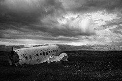 Solitude (luca.onnis) Tags: islanda iceland lucaonnis photography airplane crashed slheimasandur beach clouds black white landscape