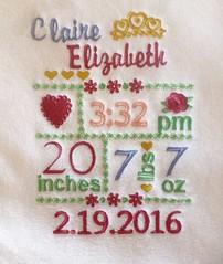 Subway Art embroidery design (initial_impressions) Tags: embroidered personalized subwayartembroiderydesign birthdate weight height stats statistics keepsake