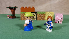 Lightning Lad met a friendly giant on his archaeological (Busted.Knuckles) Tags: home toys lego duplo minifigures boy lightninglad minecraft pig pentaxk3 camerautility5