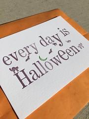 every day is Halloween (artnoose) Tags: berkeley etsy patreon spooky bats bat cats cat moon green orange purple goth ministry halloween club month print letterpress