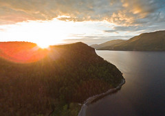Sunset @ Lomond (SPT Photographe (seanthibert.com)) Tags: drone uav aerial quadcopter sunset sun sky cloud clouds dusk lake water trees mountain forests land national park gros morne newfoundland canada islands island flare dji phantom sean thibert beach beaches east coast