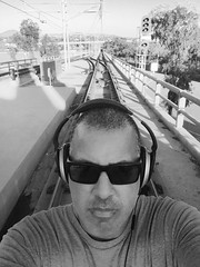 Stay on Track (Blue Rave) Tags: bw blackandwhite iphonephotography iphoneography sandiego 2016 self myself ego me bloke dude guy male mate people selfie tracks boseheadphones headphones headset sunglasses california ca