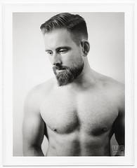 Polaroid B&W (new website online!  check link below) (WF portraits) Tags: cze male model portrait studio polaroid blackandwhite fujifilm fp3000b beard blonde muscular fitness gym naked nude chest shaven 600se
