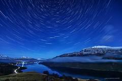 Stars, Cars, Clouds & Cold (john&mairi) Tags: point193 firkin lochlomond scotland startrails cartrails clouds mist snow benlomond