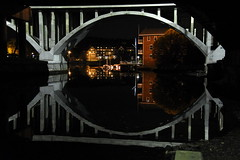 bridge reflection (bobsnikond200) Tags: bridge reflection night city symmetry symmetrical shapes water river ocean overpass underpass infrastructure trestle beam support dock