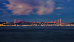 bosphorus bridge. (zeyadabouzeid) Tags: bosphorus bridge istanbul turkey longexposure sea lights blue sky cityscape city travel