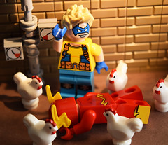 Poultry Pursuit! Part 3 (Andrew Cookston) Tags: lego dc comics dccomics flash theflash central keystone city thetrickster trickster jamesjesse chickens moc custom minifig christo christo7108 stilllife toy macro photography andrewcookston
