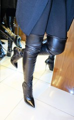 Rosina in the hotel elevator (Rosina's Heels) Tags: overknee thigh high leather stiletto boots