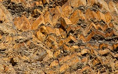 Rock Face at Devil's Slide (Cathy de Moll) Tags: cliff rocks rock striation pattern gold orange zigzag layers stone