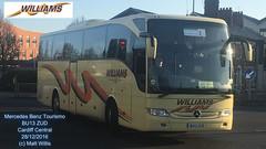 WILLIAMS OF BRECON MERCEDES BENZ TOURISMO BU13 ZUD CARDIFF CENTRAL 28122016 (MATT WILLIS VIDEO PRODUCTIONS) Tags: williams of brecon mercedes benz tourismo bu13 zud cardiff central 28122016