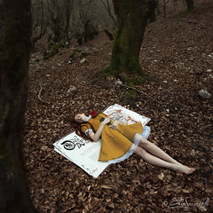 Beauty and the Beast (Elis's ☾) Tags: beauty beast labellaelabestia belle bella model modella fairy fairyland fairytales favola fiaba fable fantasy fantastic fantastique fantasia elisascascitelli elisphotography magia magic rose rosa rosarossa flower fiore yellow vestitogiallo yellowdress giantbook book libro pagine word paper carta librogigante onceuponatime ceraunavolta bosco wood vintage alberi trees tree forest foresta redhead capellirossi 2470mm freckled freckless lentiggini efelidi fineart canon5dmark3 portrait art arte artistic portfolio ritratto conceptual concettuale square beautiful wonderful immagination dreamy dream sogno fantastico foglie sheets fogli