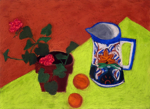 "Bright Green with Mexica Jug - pasel on paper 22"" x 30"" $1100"