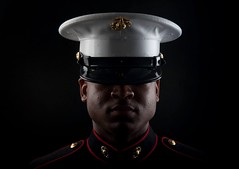 The Few. The Proud. (AaronShawn4641) Tags: lighting usmc blackbackground studio poster photography hawaii bay military dramatic kaneohe cover marines honolulu ega marinecorps corporal dressblues kailua devildogs enlisted combatcamera comcam twopoint mcbh combatphotographer