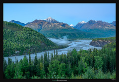 Matanuska River Dawn (Ilan Shacham) Tags: usa mist mountains green nature water fog alaska america sunrise landscape outdoors dawn us view fineart scenic snowcapped curve fineartphotography glennhighway mountainscape scurve matanuska
