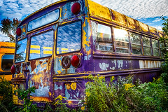Rusted old School Bus (maxinneball) Tags: old school sun bus clouds rusty flare wrecked
