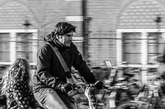 Dad with his daughter on a bicycle (Erwin Kreuning) Tags: street people blackandwhite white black amsterdam streetphoto zwart wit staat mensen streetphotographie