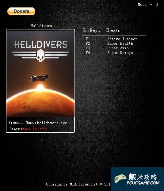 Helldivers v1.0三項修改器MrAntiFun版