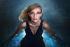 Feeling blue (slawomirsobczak) Tags: bigeyes blackdress blonde blue eyes floor intense magneticlook makeup