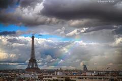 Timide arc Parisien (bertrand kulik) Tags: toureiffel rainbow france bertrandkulik paris arcenciel weather rain cloud nuage ville city nature