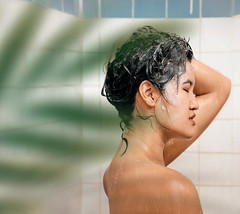 79/365 (itskatrinayu) Tags: leaves shower woman self portrait 365 project