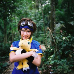 Taichi (bdrc) Tags: agfa isolette agnar 85mm film medium format 120 fujifilm fijicolor asdgraphy vintage classic cosplay girl portrait outdoor taichi digimon crossplay jungle forest bukit gasing kaori lalachan