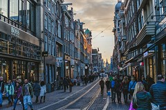 Amsterdam mood (spiridono) Tags: amsterdam golden hour sun light city cityscape netherlands street evening mood moody railways