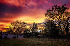 Back Yard Sunset (Roy Manchester) Tags: blue catskillnewyork canon canon6d clouds canonllenses colors availablelight 247028l eos ef sky sunset fall outdoors orange yards yellow landscape dusk serene trees green
